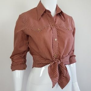 Vintage Red Gingham Western Button-Up Shirt